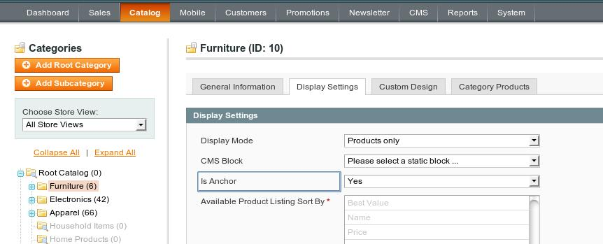 Is Anchor option in Magento category