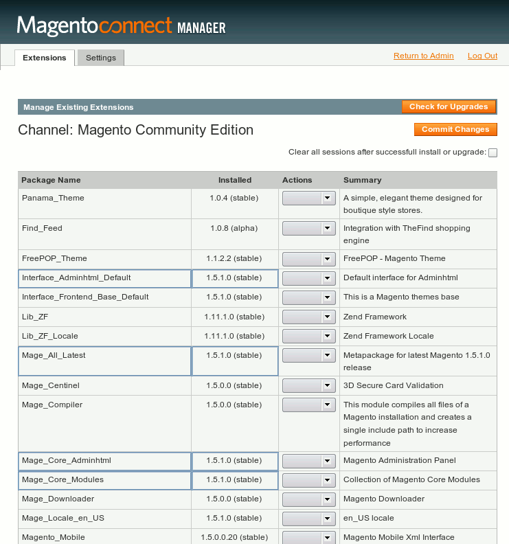 Check Interface_AdminHtml version in Magento Connect