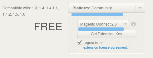 Selecting Magento Connect 2.0 version key