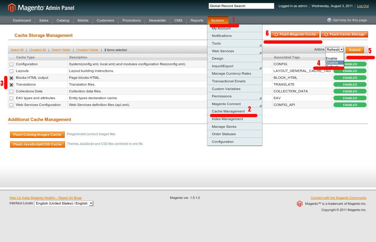 Disable Block cache in Magento